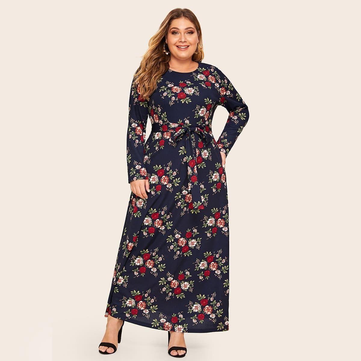 13 00 Vestido Con Cinturon Con Estampado Floral Grande Shein Tallas Grandes Mujer Ves Plus Size Dresses Belted Floral Dress Butterfly Print Dress