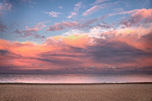 Stock Photo : secluded beach at sunset