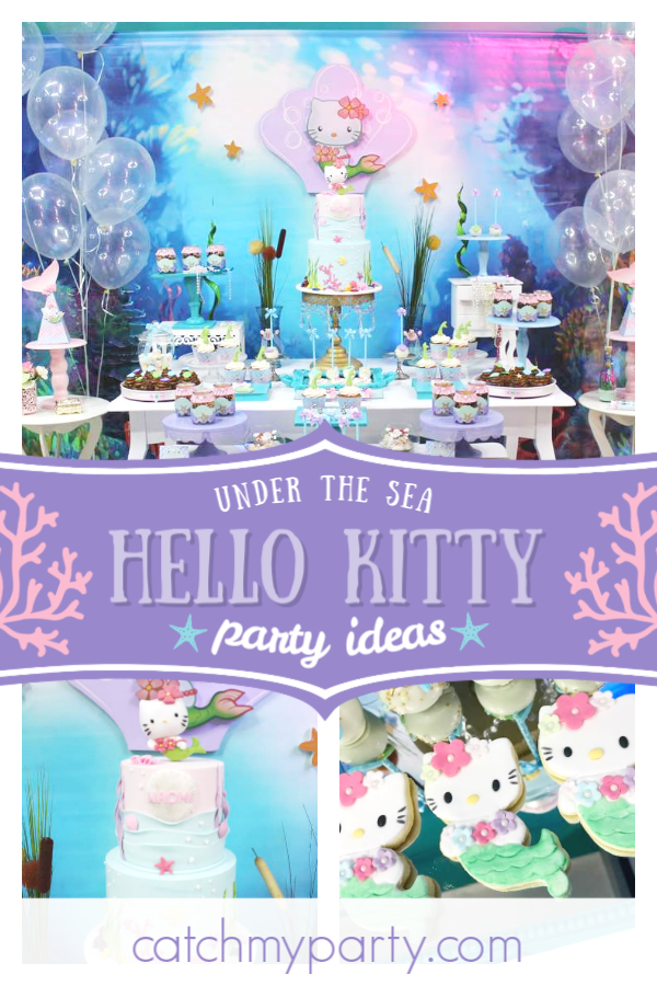 866c289ec Dive into this gorgeous under the sea Hello Kitty birthday party! Love the  mermaid cookies! See more party ideas and share yours at CatchMyParty.com  ...