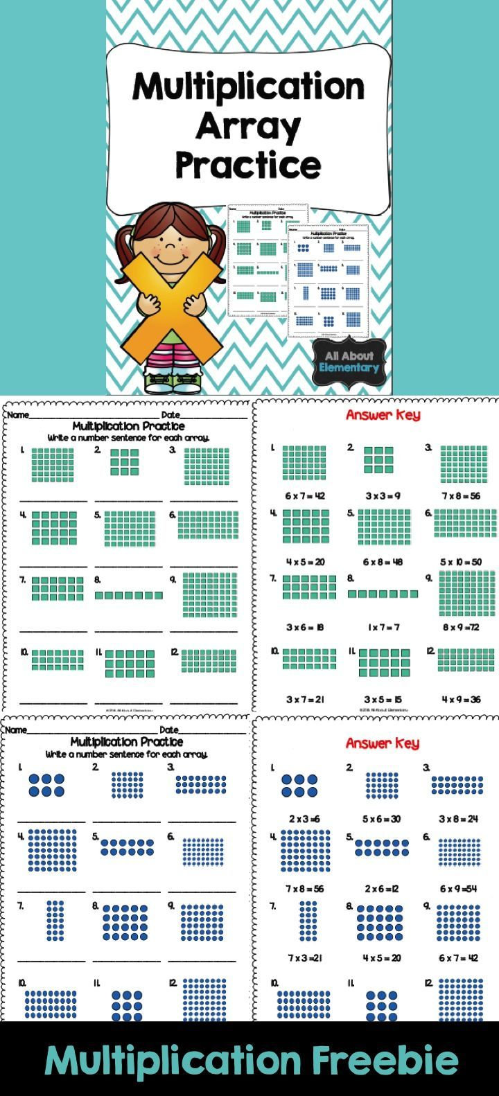 Multiplication Array Worksheets | Freebies for Teachers | Pinterest ...