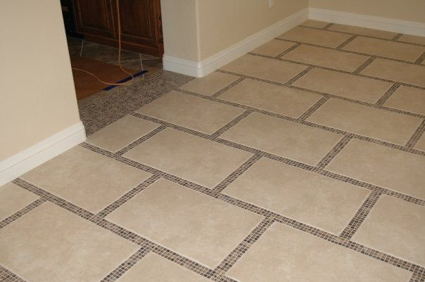 Porcelain tile floor staggered with stone mosaic borders | some REID ...