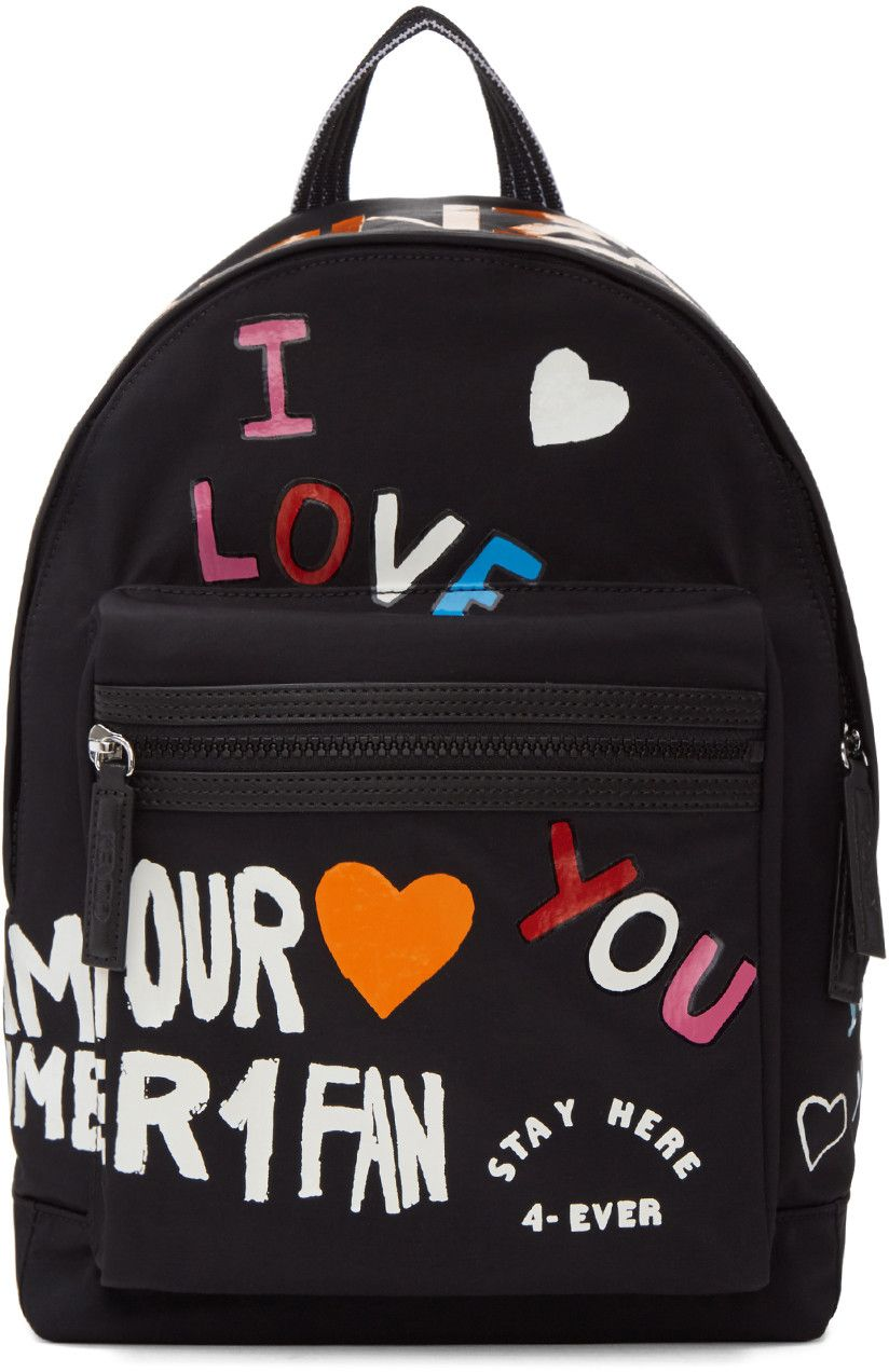 401b013067f6 KENZO Black Limited Edition Love Backpack.  kenzo  bags  leather  lining   nylon  backpacks  cotton