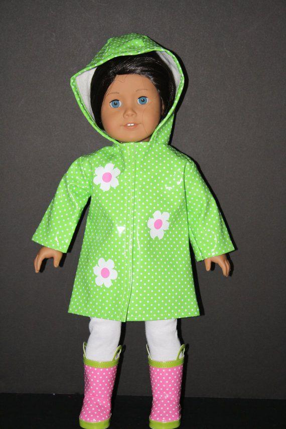 Green Polka Dot Rain Boots for American Girl Dolls
