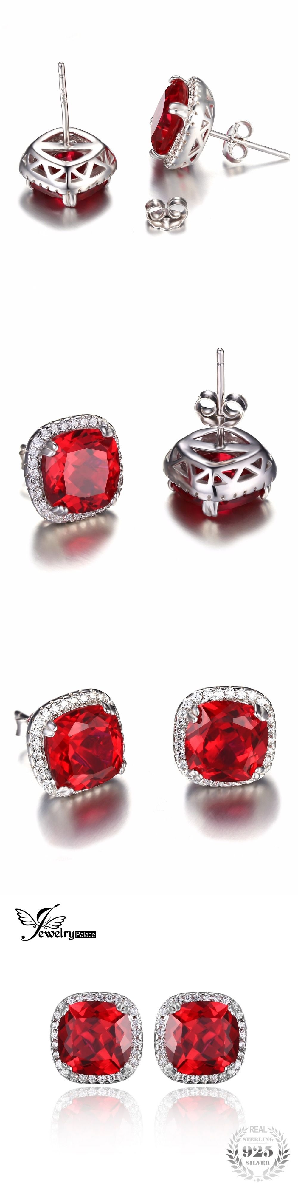 cz diamond deco earrings oval ruby halo baguette carat studs cubic stud vintage zirconia inspired cut red products faux cluster chrisalee