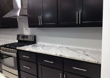 Silver Cloud Granite Dark Cabinets Expresso Kitchen