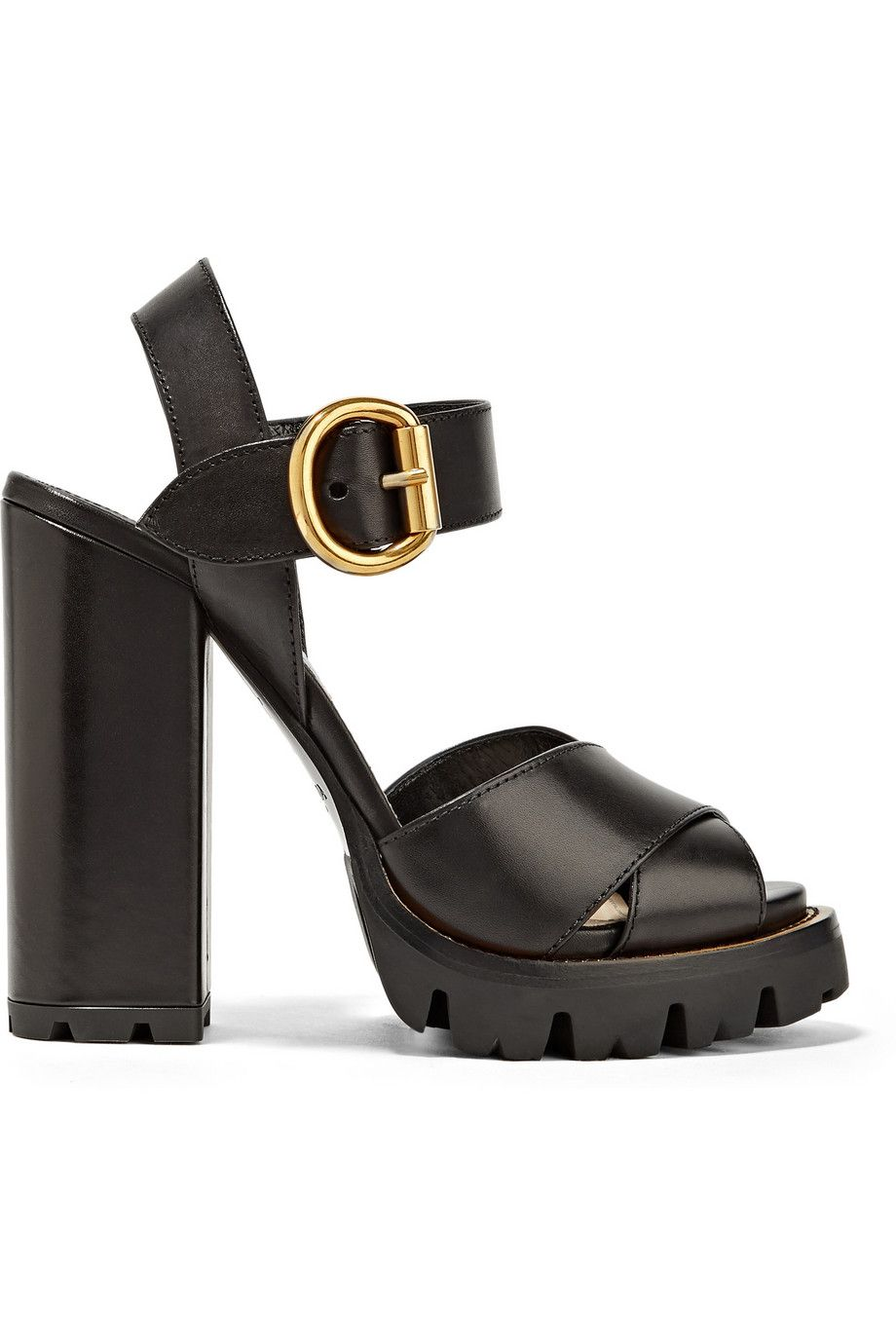 a8227abed28360 Heel measures approximately 5 inches with a 1 inch platform Black leather  Buckle-fastening ankle strap Made in Italy