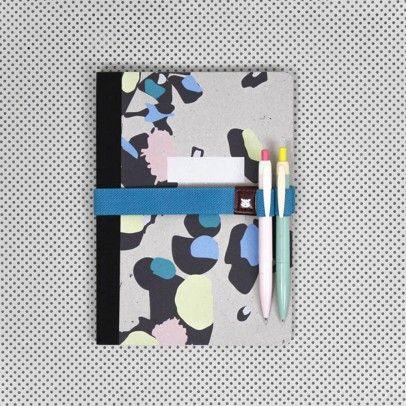 Elastique pour carnet avec porte stylo Honolulu Multicoloured  Papier Tigre