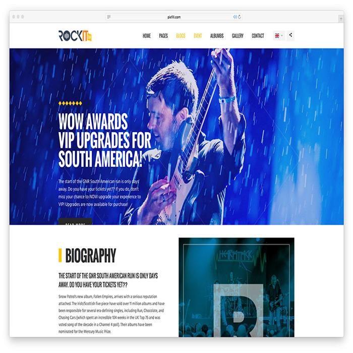 rockit-classic-music-html-website-template | Music WordPress Themes ...
