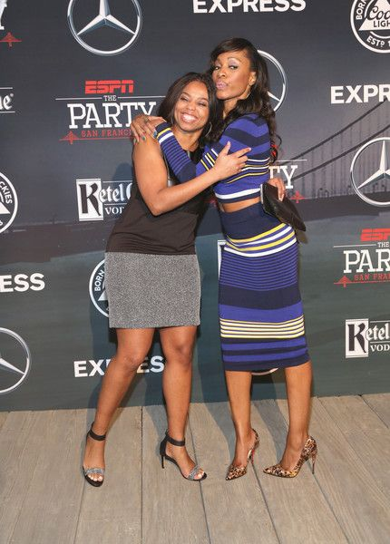 Cari Champion Photos Photos - ESPN columnist Jemele Hill (L) and ESPN host Cari Champion attend ESPN The Party on February 5, 2016 in San Francisco, California. - ESPN The Party - Arrivals