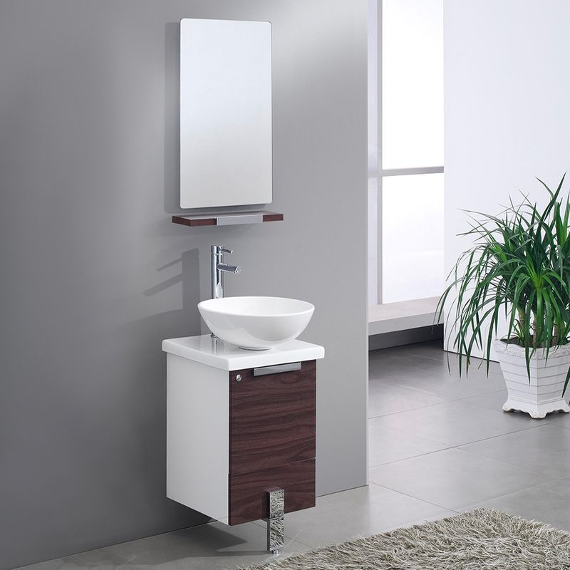 "Best Deal Fresca Adour 16"" Dark Walnut Modern Bathroom"