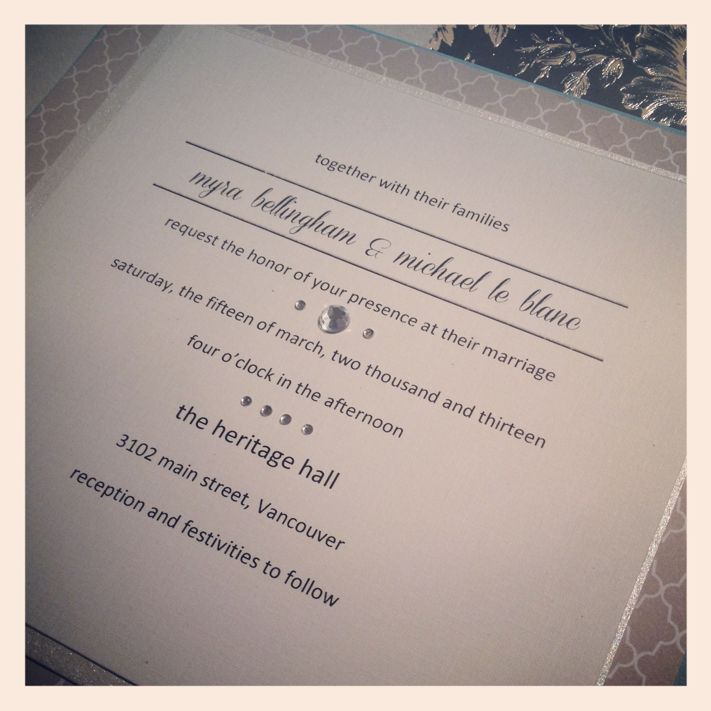 A simple design for the chic couple #wedding #invitations ...