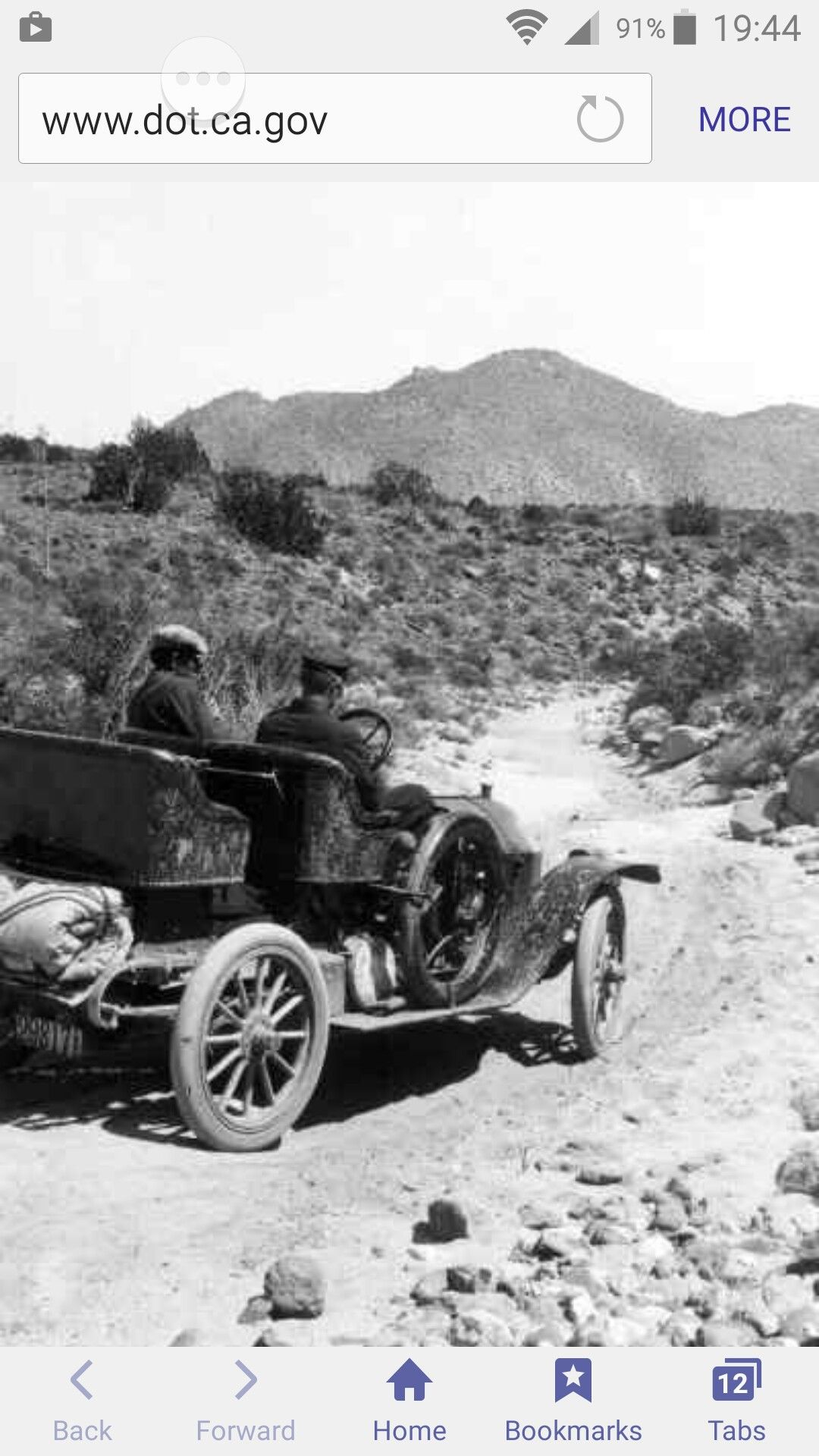 Caltrans photo of old car, Highway 80 Imperial County