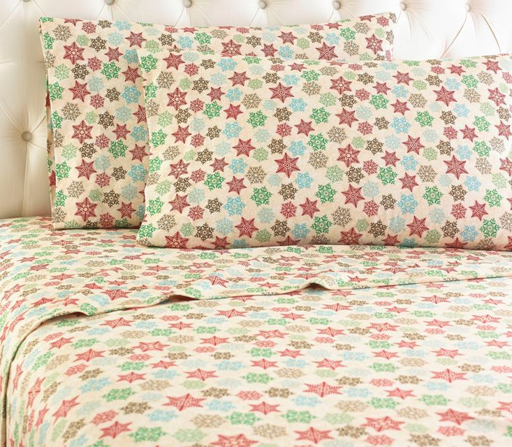 Beautifully styled, our printed pattern Snowflake Micro Flannel® sheets celebrate the winter season.    This gorgeous pattern of multi-colored snowflakes, combined with innovative Micro Flannel®,