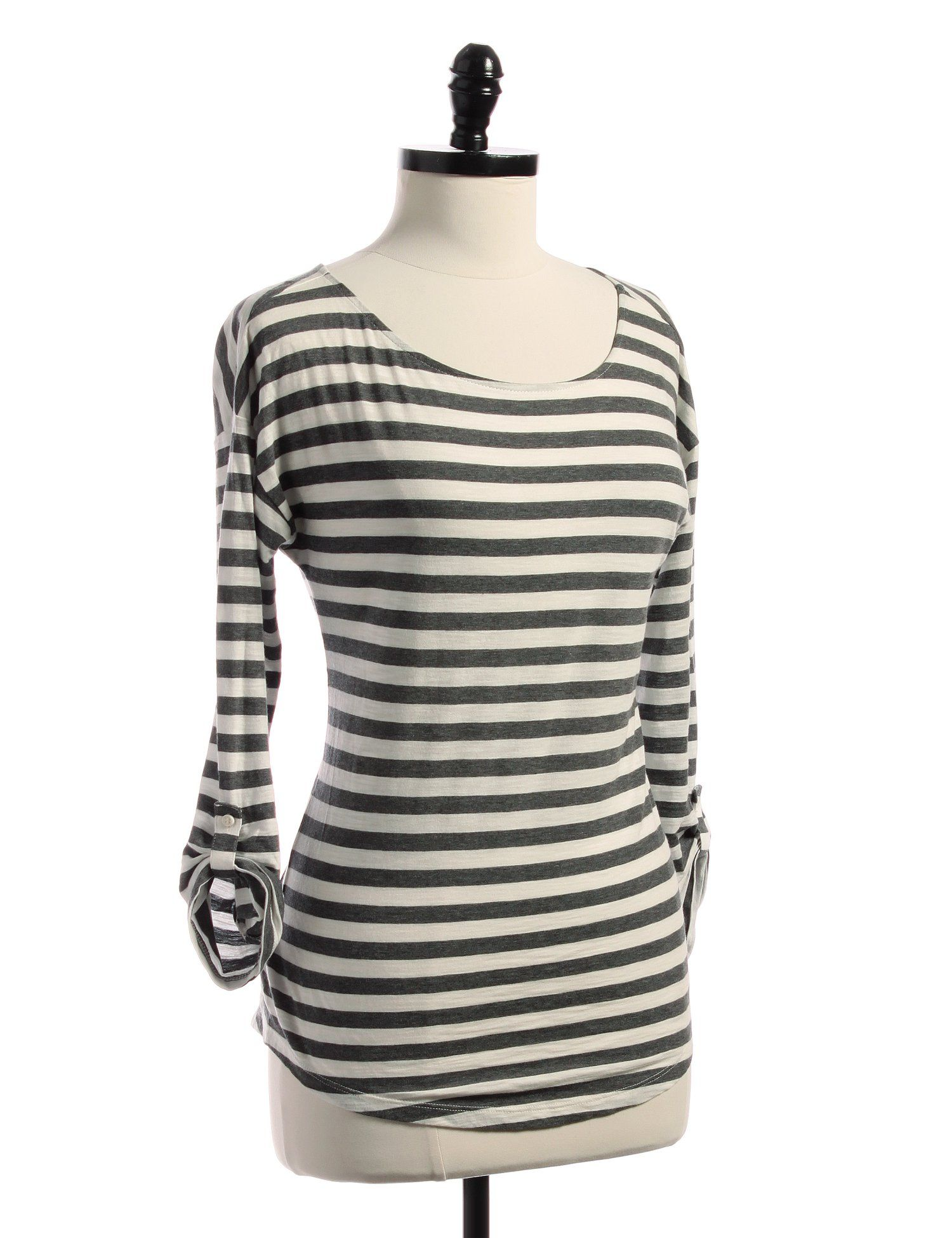 Ann Taylor Loft Grey Striped Blouse (S)