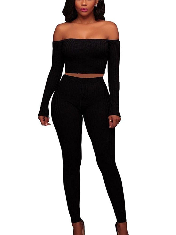 Women Off Shoulder Long Sleeve Bodycon Jumpsuit Long Pants Rompers