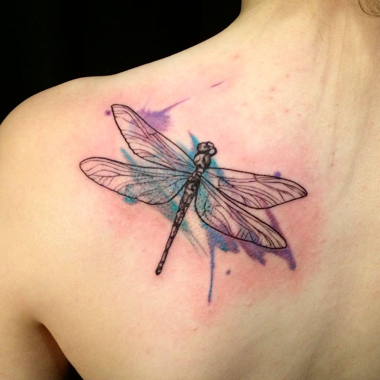Dragonfly Tattoo   Artist: Lu Dreamworx Ink 3883 Rutherford Rd, Unit 11 Vaughan, ON L4L 9R8 905-605-2663 @Dreamworx Ink