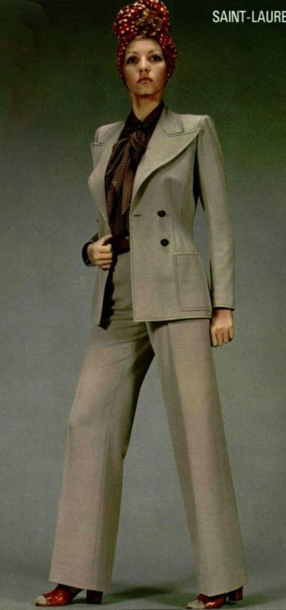 f7c0dfe210 1971 - Yves Saint Laurent the iconic 70s pantsuit in tan jacket ...