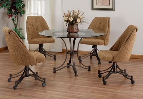 Room Casual Swivel Caster Glass Top Dinette Set Dinetteonline Leather Dining