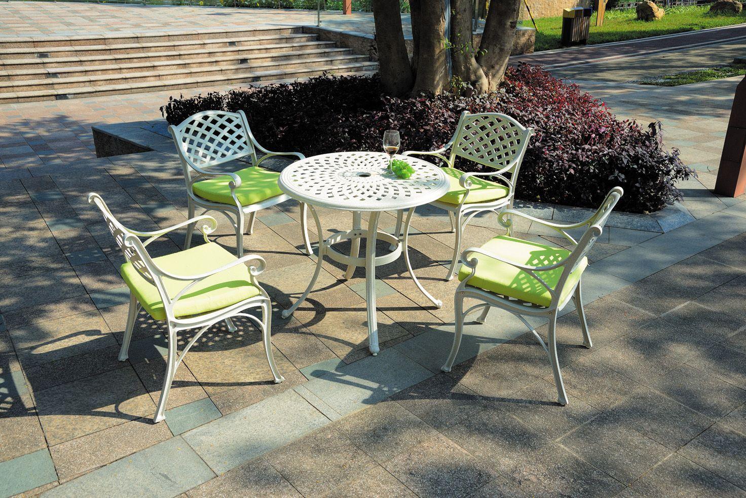 Outdoor Restaurant Metal Table Chairs Aluminum Furniture