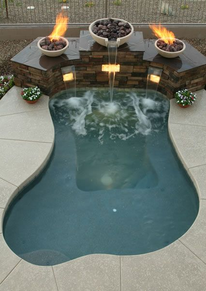 fire bowls waterfall spa sonoran waters custom pool