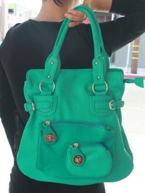 $52 Bright teal buckle satchel