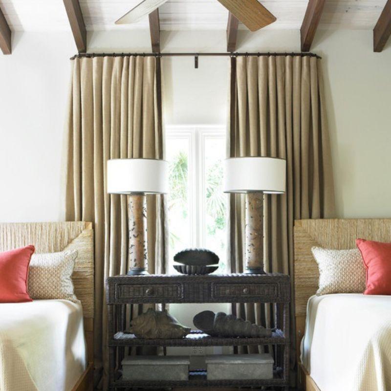 cortina de lino instalada en barra decoracin cortinas lino