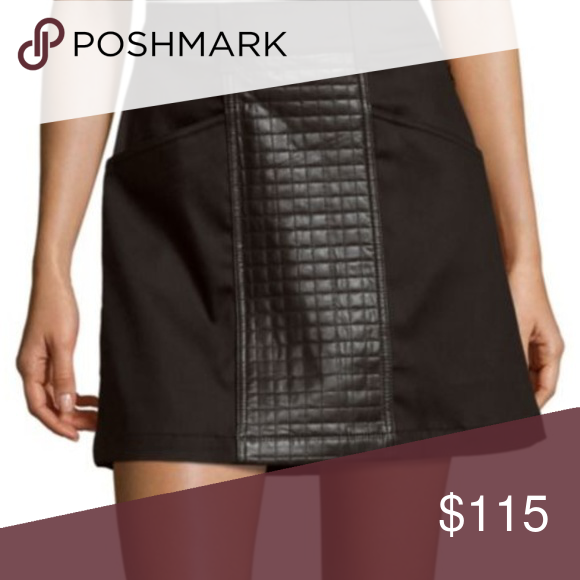 4491d3fc22 Black A-Line Mini Skirt w/ leather paneling sz 29 Adorable 7 For All  Mankind black a-line mini skirt with leather quilted paneling.