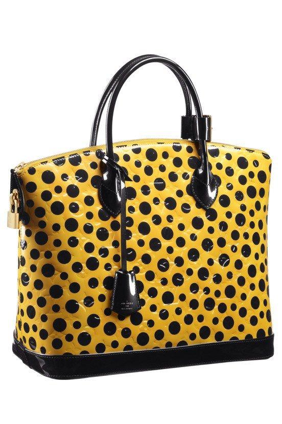 676032d9927f Yayoi Kusama Louis Vuitton Lockit MM Monogram Vernis Dots Infinity yellow