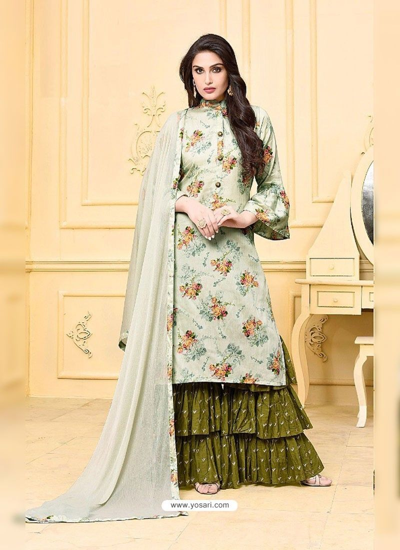 6af6245a99c16 Olive Green Digital Printed Jam Silk Cotton Designer Palazzo Suit ...