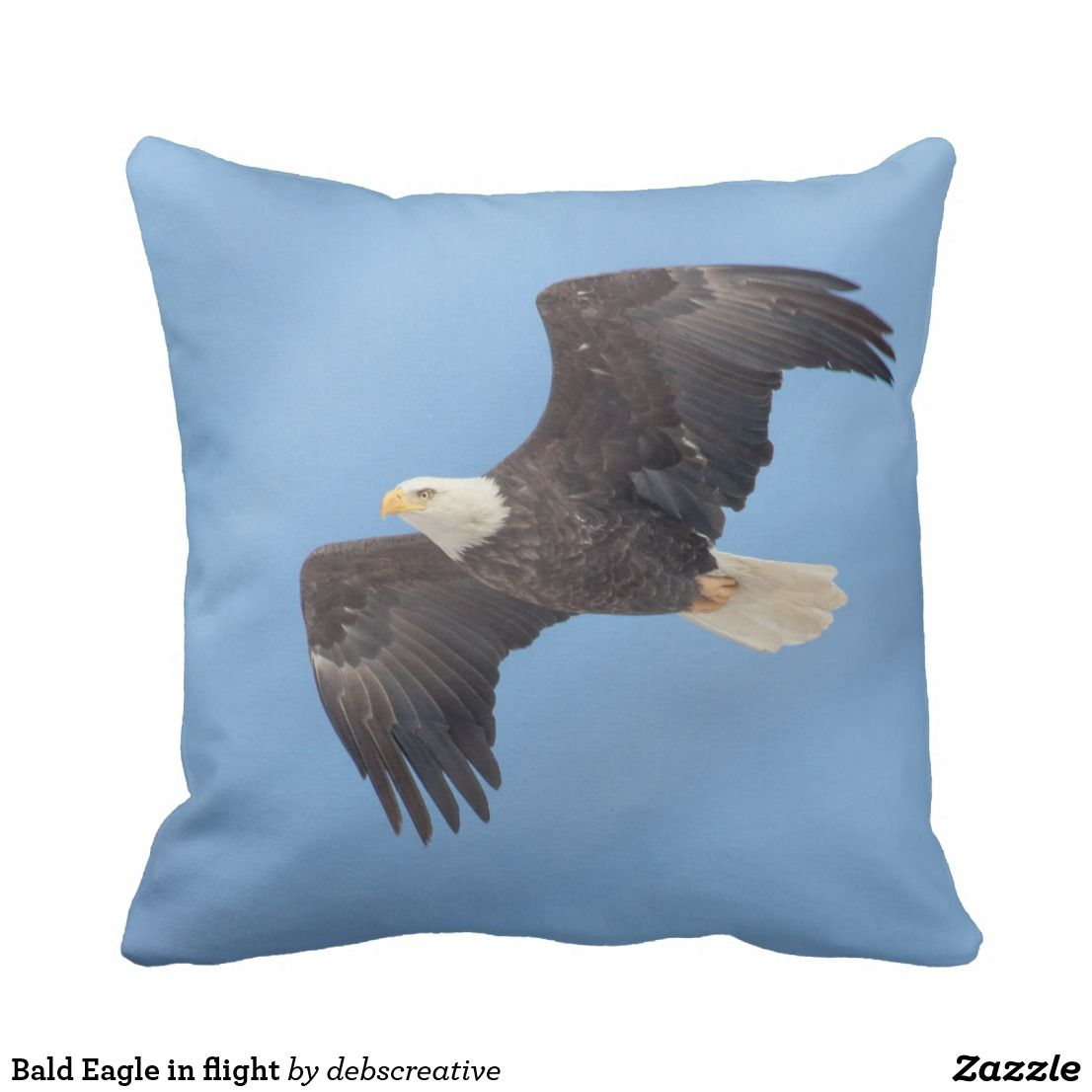 Bald eagle in flight throw pillow in throw pillows to
