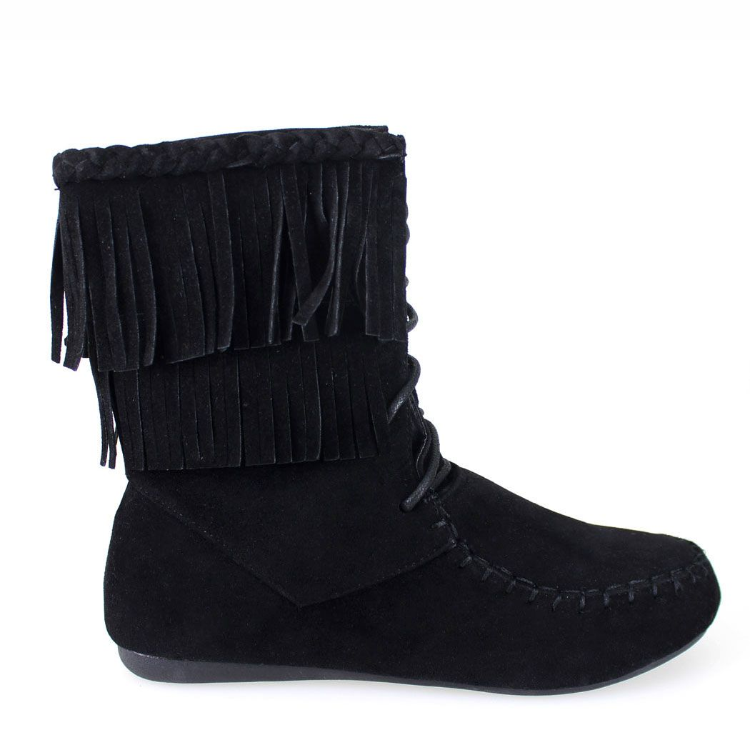 Candice-22 Black Fringe Top Faux Suede Ankle Boot
