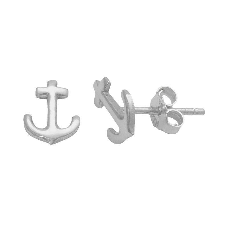 Itsy Bitsy Sterling Silver Anchor Stud Earrings, Women's