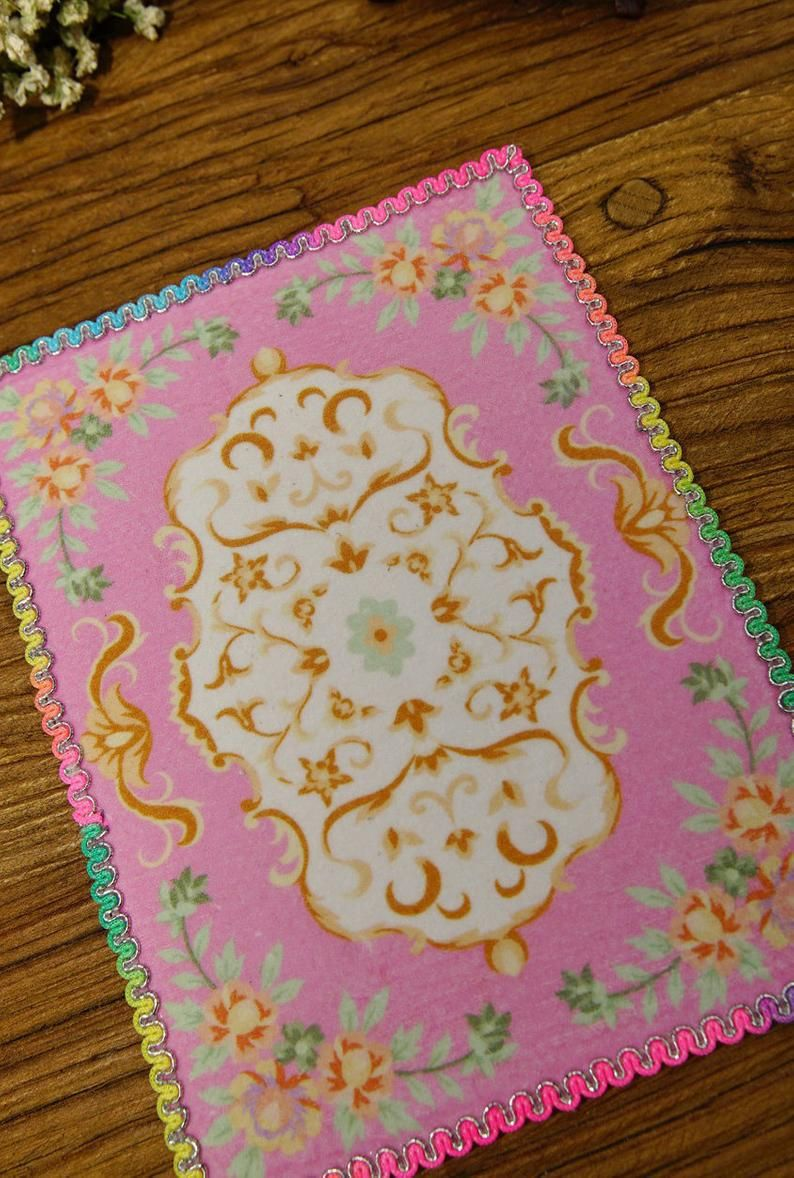 1:12 Nice Dollhouse Miniature Rug French Style Floral Ivory Blue Green Olive