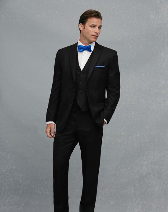 c1752a87 Jos. A. Bank 2-Button Notch Lapel Black Suit Wedding Tuxedo - The ...
