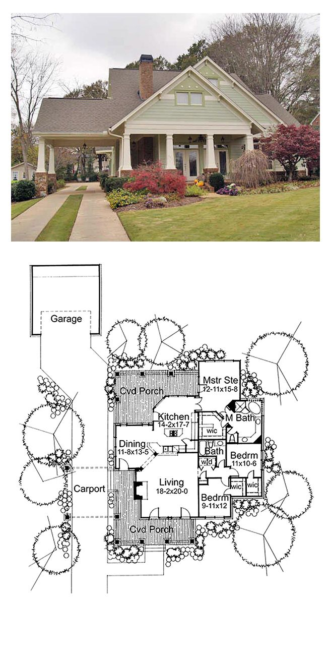 Bungalow Style House Plan 65800 With 3 Bed 2 Bath 2 Car Garage Bungalow Style House Plans Bungalow House Plans House Plans
