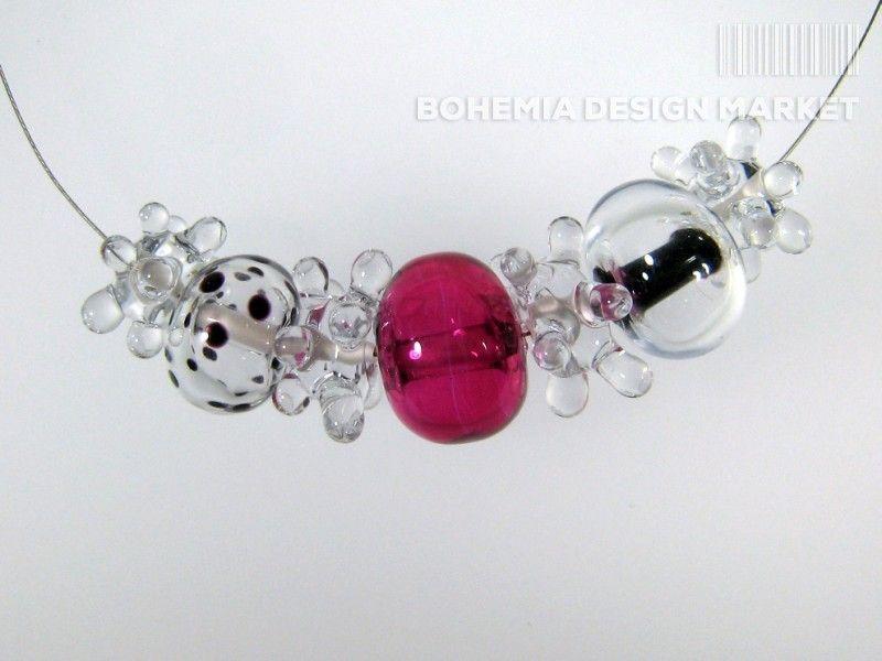 >>Hollow beads necklace with crystal and ruby glass - by Petra Hamplova<< Enjoy Uniqueness & Quality of Czech Design http://en.bohemia-design-market.com/designer/petra-hamplova