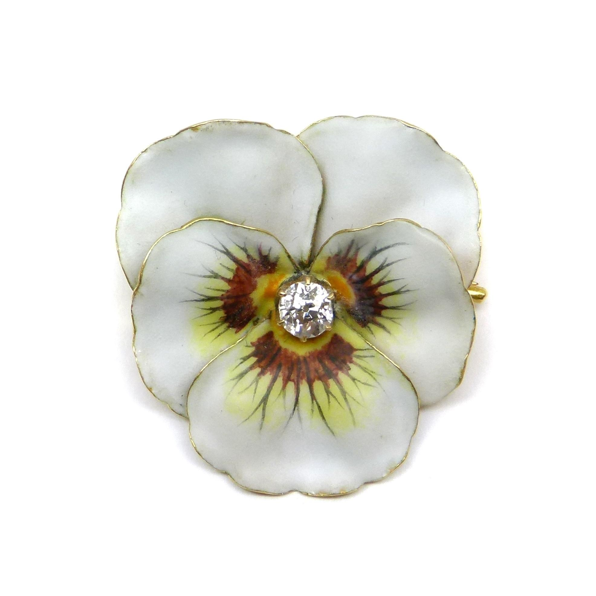 enamelled gold bentley jewellery a brooch yellow london cartier hand flower and