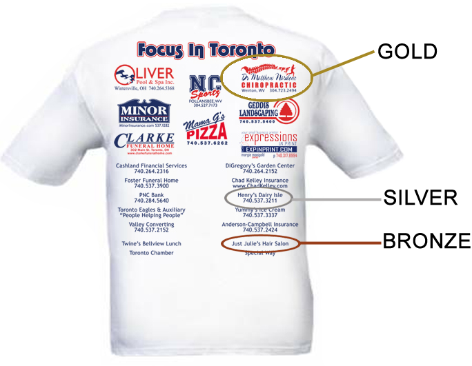 For t shirt sponsorship levels gold sponsorship 175 for Sponsor t shirt design