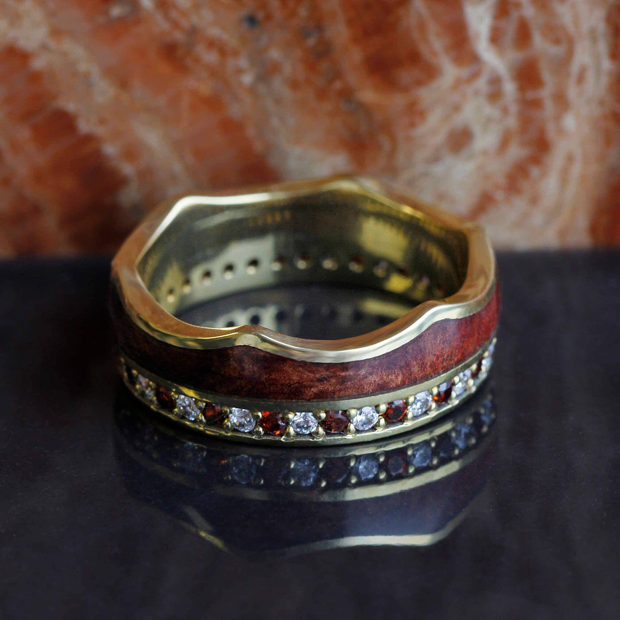 Crown Ring, Gemstone Eternity Wedding Band With Wood Inlay