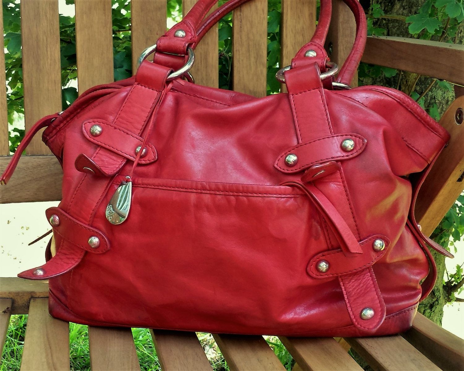 Vintage Tula Red Leather Hobo Satchel Bag By Lucksy On Etsy