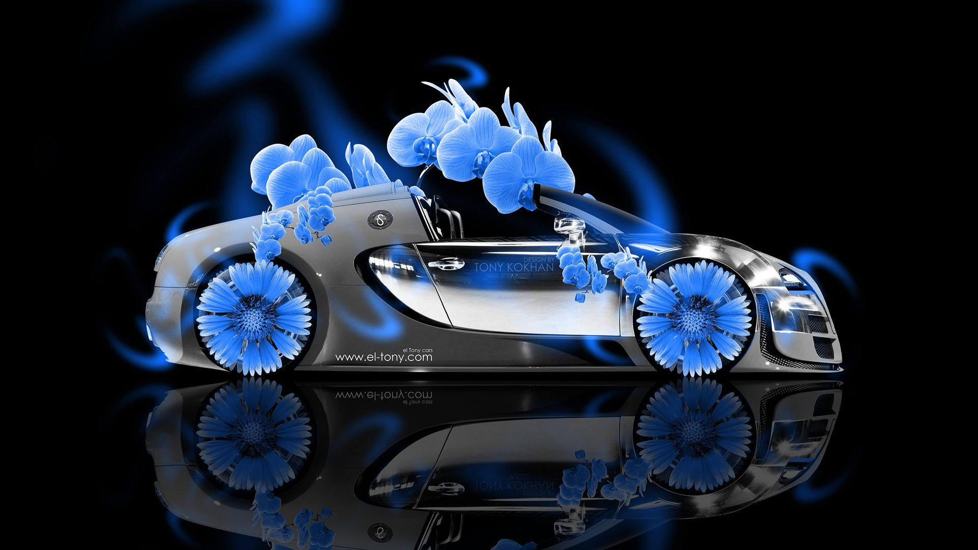 Neon Blue Flowers | Bugatti Veyron Roadster Side Fantasy Flowers