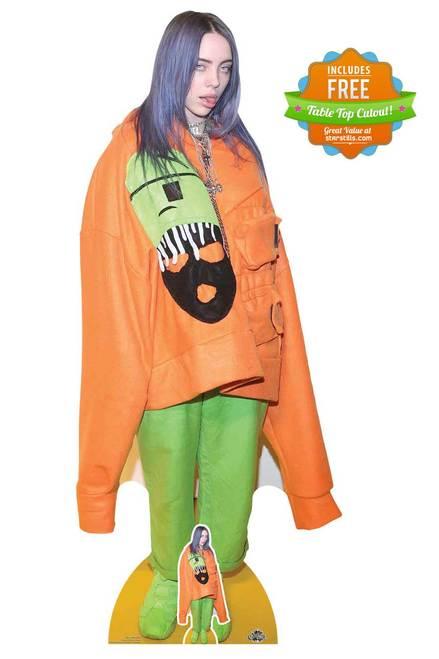 Billie Eilish Orange Outfit Lifesize Cardboard Cutout Standee Standup In 2020 Billie Eilish Cardboard Cutout Billie