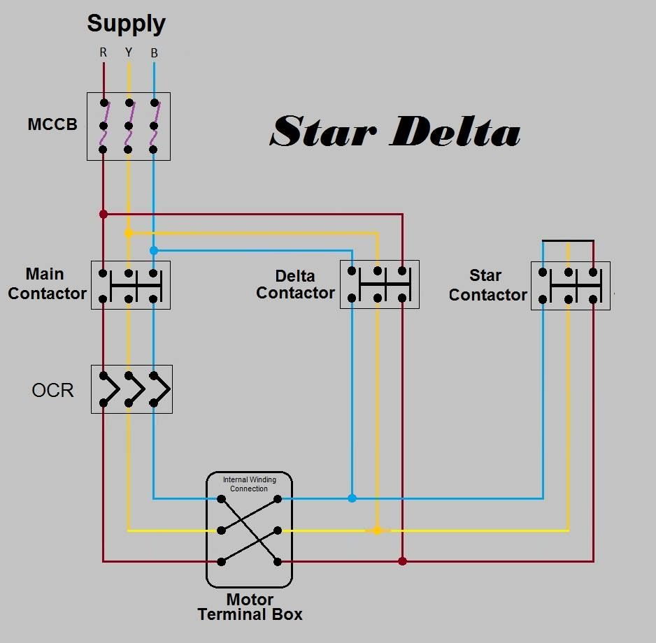Star Delta Starter Diagram With Control Wiring Wiringdiagram Org Delta Connection Diagram Circuit Diagram