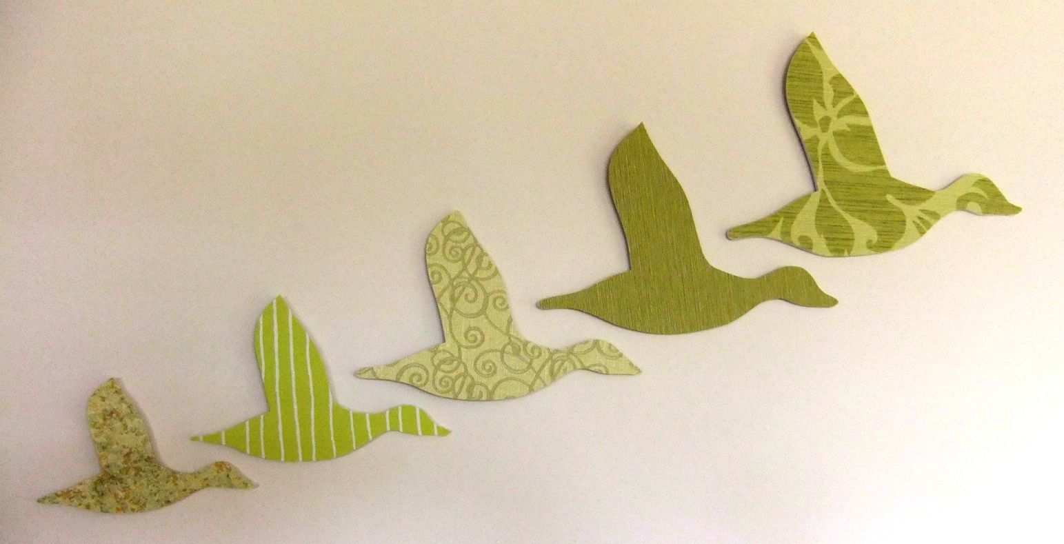flying ducks; These 5 ducks are made from hand cut foamcore board ...