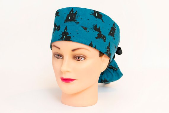 15783f21e8a Houses on Haunted Hill Boy Cap Ponytail Scrub Hat | Ponytail ...
