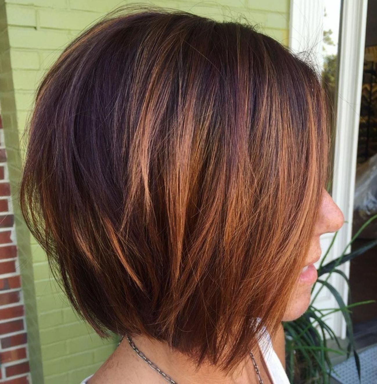 Burgundy and Copper Balayage Bob for Brunettes #bobhairstyles