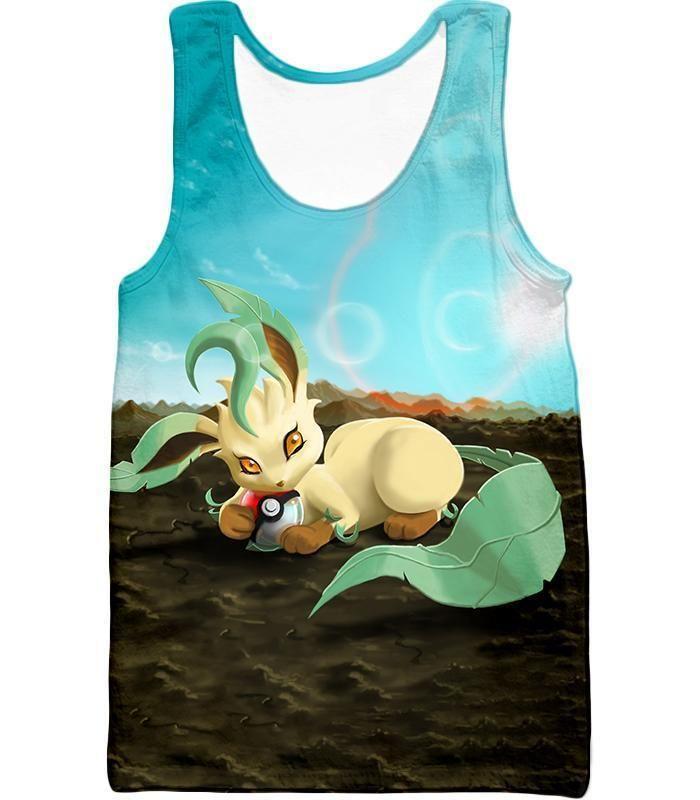 Photo of Pokemon T-Shirt – Pokemon Very Cute Wolf Grass Type Pokemon Leafeon Cool T-Shirt – Tank Top / S