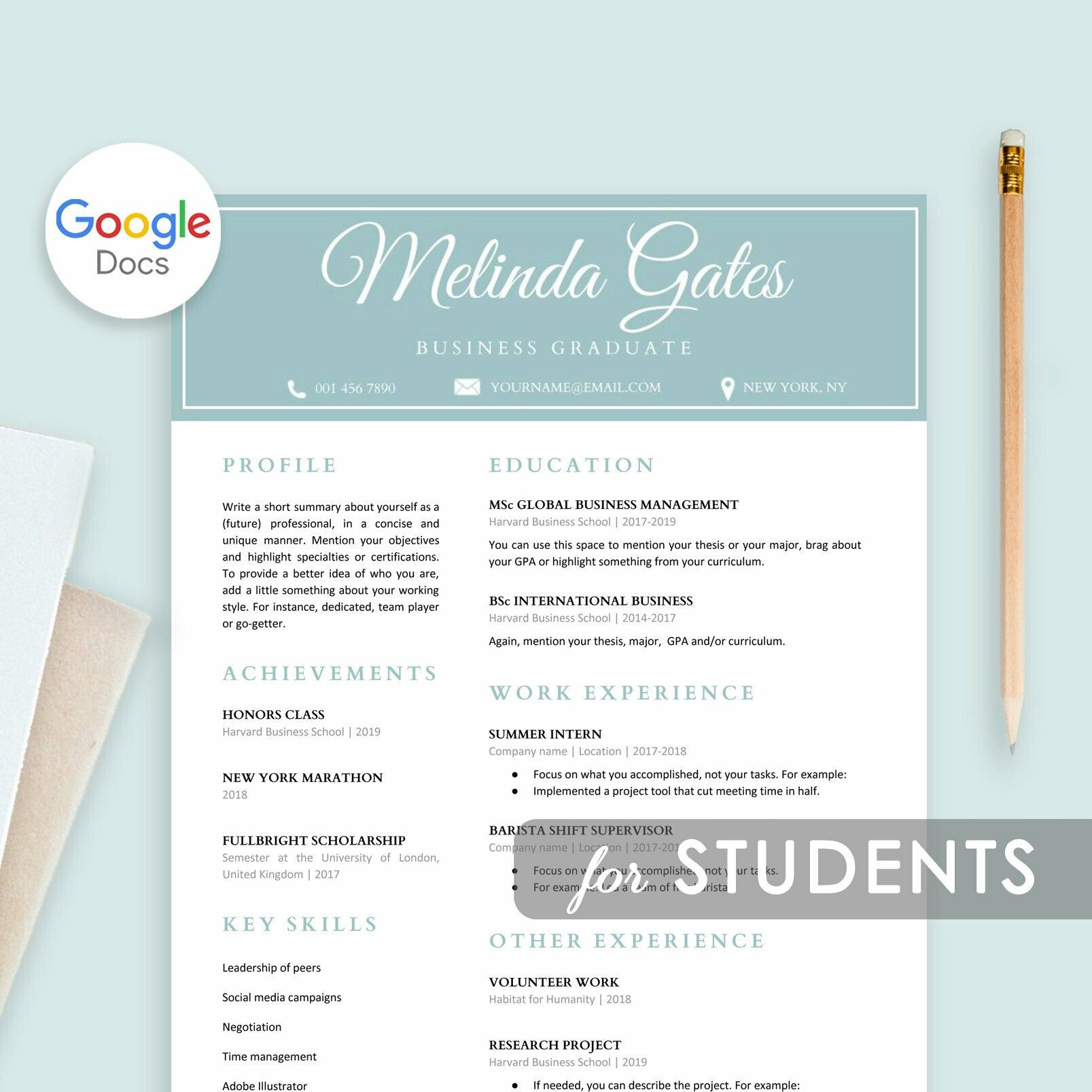 Student Resume Template Google Docs, Resume For Students