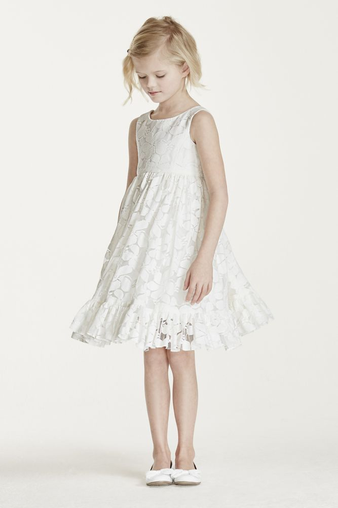 c3d835202 All Over Floral Lace Tank Flower Girl / Communion Dress - Soft White ...