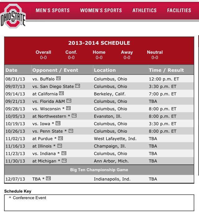 2013/2014 Ohio State football schedule | Ohio State Buckeyes